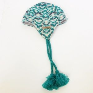 Columbia teal knit Fair Isle pattern hat - youth
